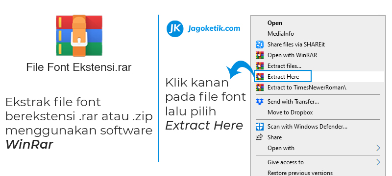 Cara menambahkan dan ekstrak file font