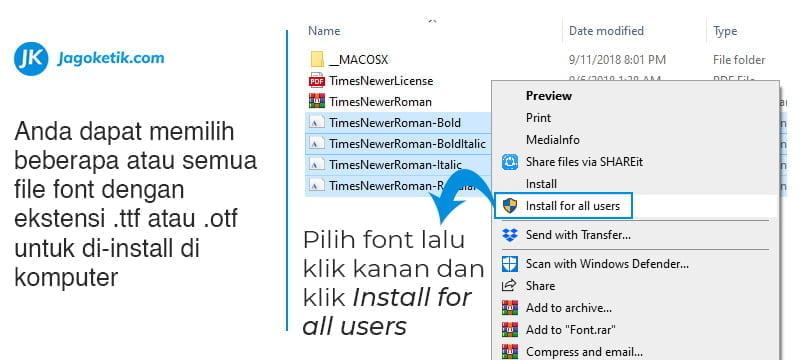 Cara install font di Windows 10