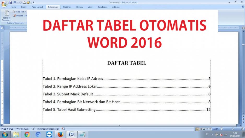 Cara mengatur Daftar Tabel secara Otomatis